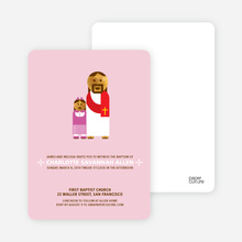 Jesus and Girl Baptism Invitation - Pink