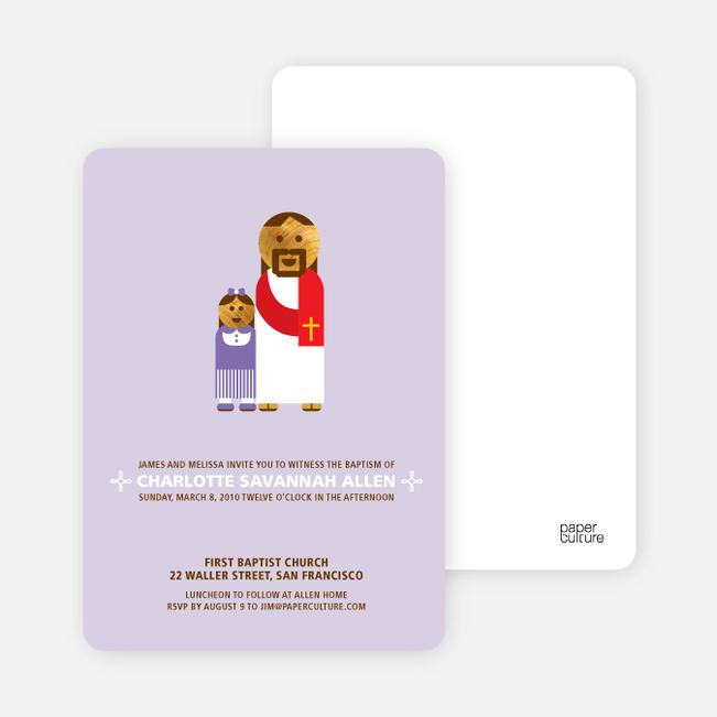 Girl and Jesus Baptism Invitation - Pale Purple