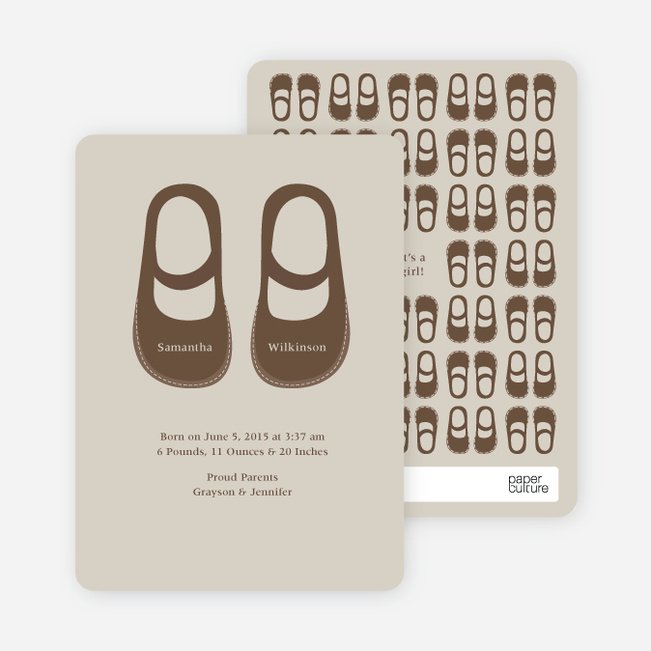 Girls' Shoes Modern Baby Announcement - Sand