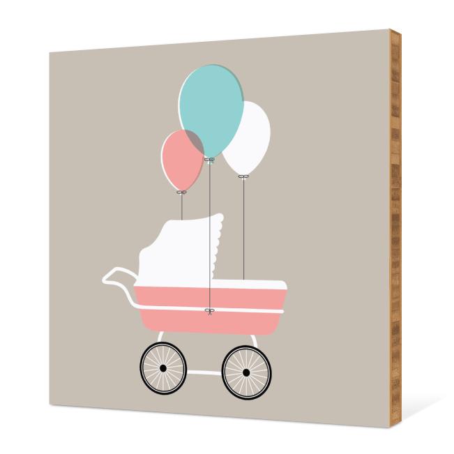 Baby Stroller Bamboo Wall Art - Grey Gravey
