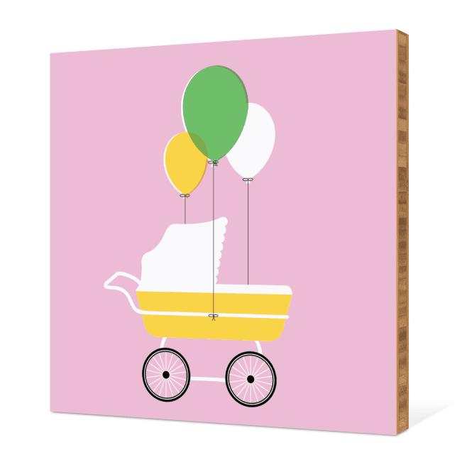 Baby Stroller Bamboo Wall Art - Pink Velvet