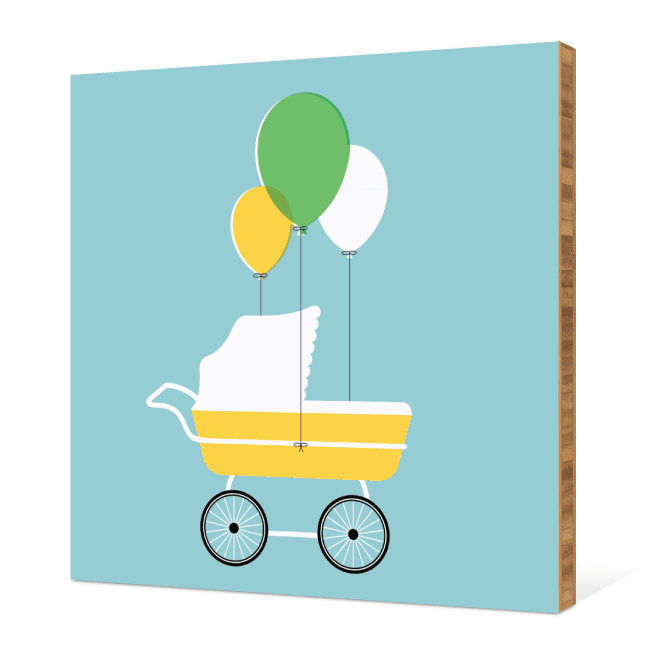 Baby Stroller Bamboo Wall Art - Blue Bubbles