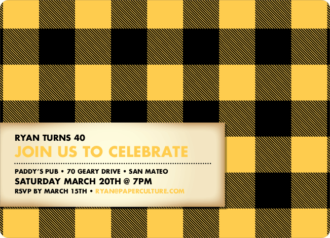 Modern Scottish Plaid Invitations - Golden Yellow