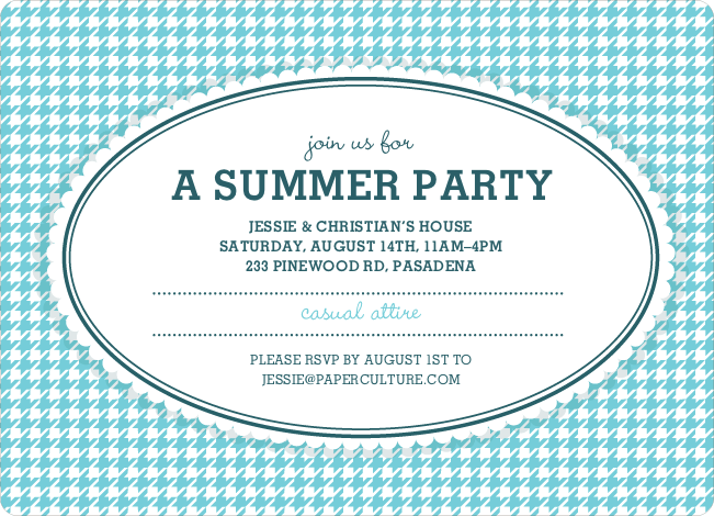 Houndstooth Party Invitations - Azure