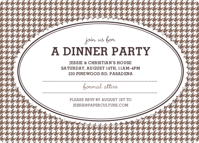 Houndstooth Party Invitations - Cappuccino
