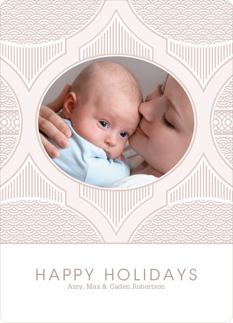 Happy Holidays Star Pattern - Vintage Rose