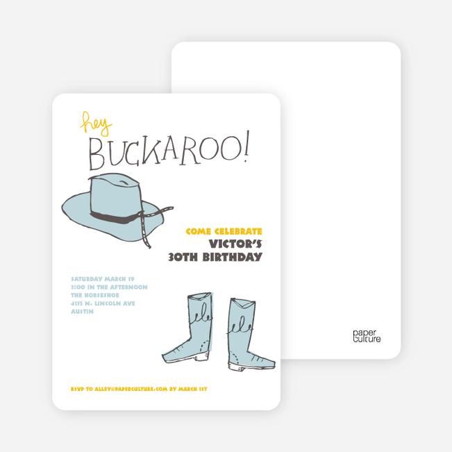 Hey Buckaroo: Wild West Cowboy Party Invitations - Gunslinger Blue