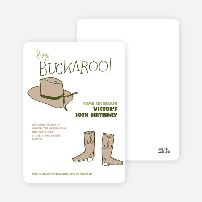 Hey Buckaroo: Wild West Cowboy Party Invitations - Brown Boots