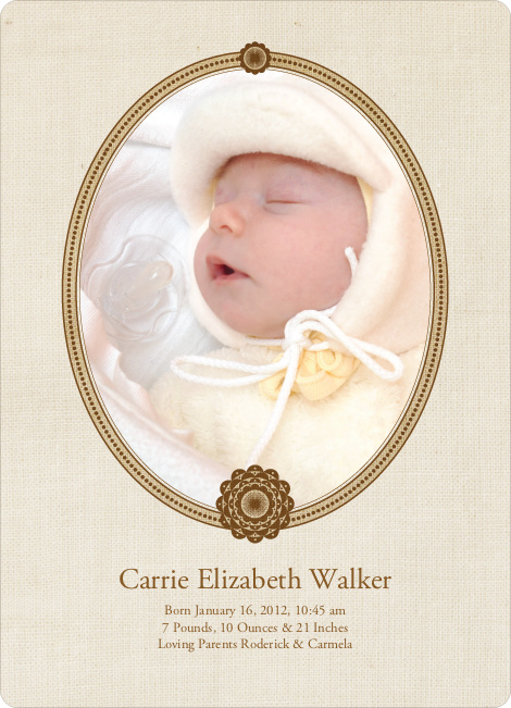 Classic Frames: Vintage Photo Birth Announcement - Bronze
