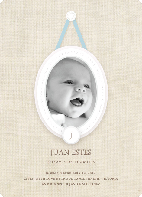 Antique Monogram Birth Announcements - Aquamarine