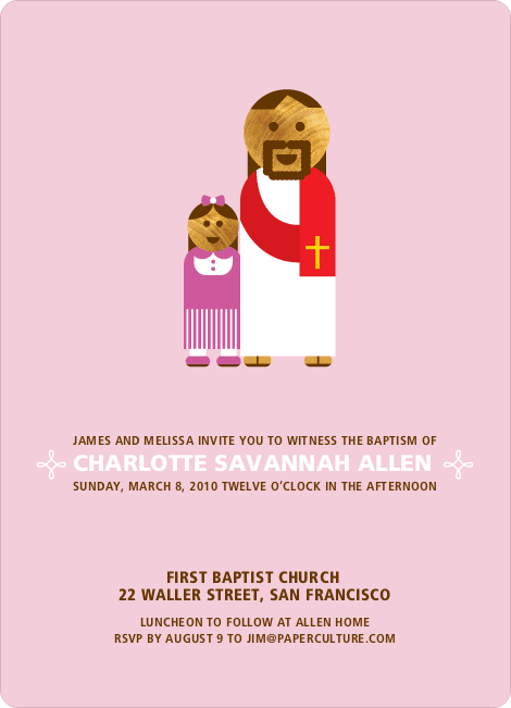 Girl and Jesus Baptism Invitation - Pink