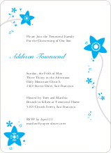 Floral Baptism Invitation - Sky Blue