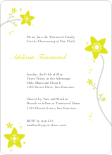 Floral Baptism Invitation - Yellow