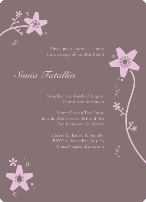 Floral Bridal Shower Invites - Cotton Candy Pink