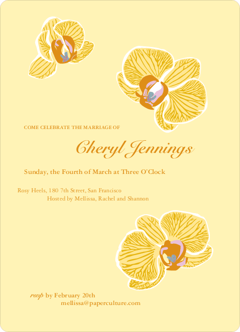 Orchid Bridal Shower Invitations - Lemon Yellow