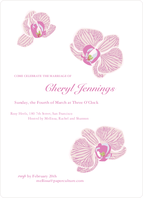 Orchid Bridal Shower Invitations - White