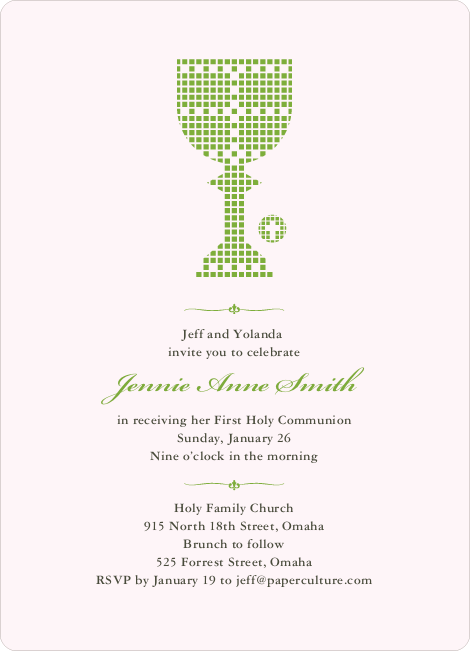 First Sacrament Chalice Holy Communion Invitation - Apple Green