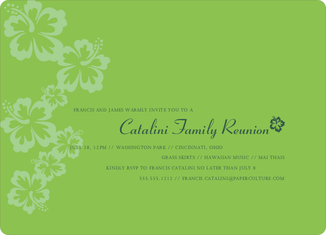 Classic Summer Flower Party Invitations - Basil