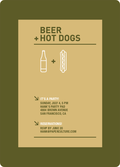 Hot Dog and Beer Party Invitations - Corn Yellow