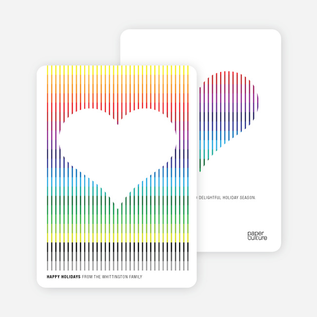 Holiday Rainbow Stripes Holiday Cards - Rainbow
