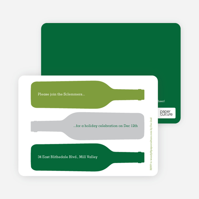 Holiday Wine Party Invitations - Forest Green
