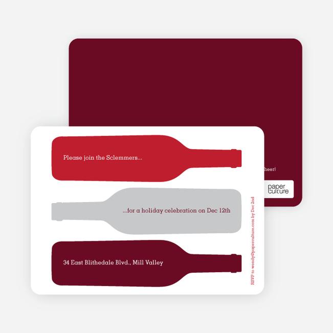 Holiday Wine Party Invitations - Maroon