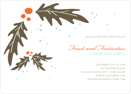 Holly Holiday Party Invitations - Carrot