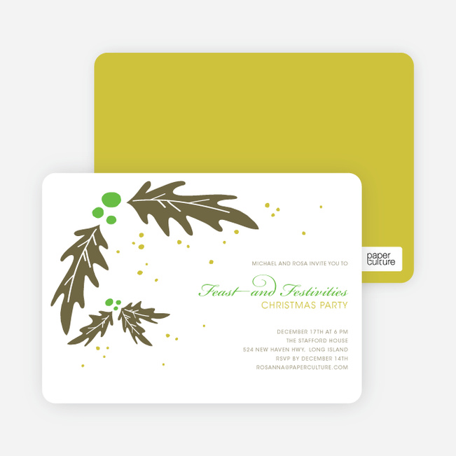 Holly Holiday Party Invitations - Basil