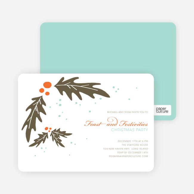 Holly Holiday Party Invitations - Carrot