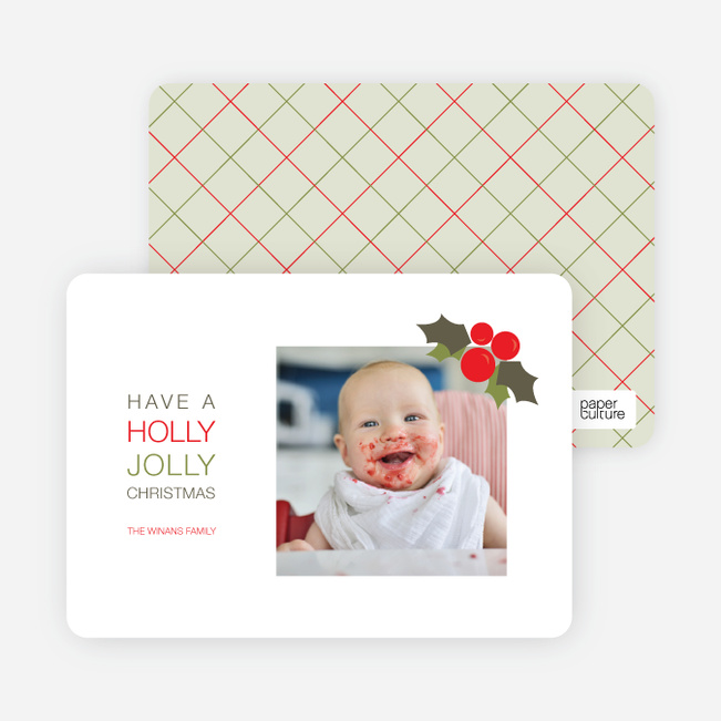 Holly Jolly Christmas Holiday Photo Cards - Fire Engine Red
