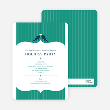 Holly Stripes Holiday Invitations - Teal