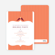 Holly Stripes Holiday Invitations - Orange Sherbet