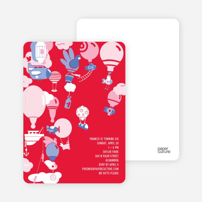 Hot Air Balloon Birthday Invitation - Cherry Red