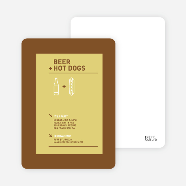 Hot Dog and Beer Party Invitations - Mustard