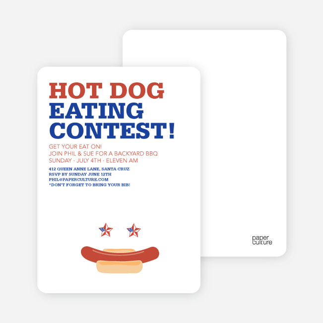 Hot Dog Eating Contest Summer Party Invitations - Brick