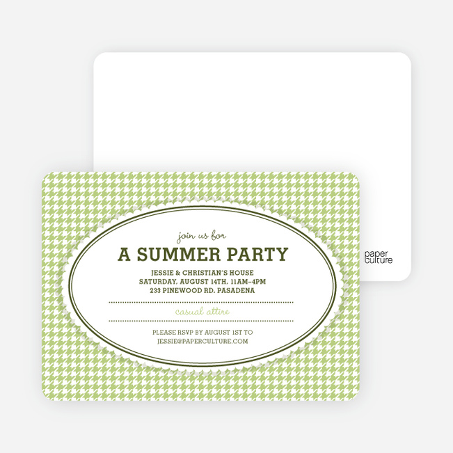 Houndstooth Party Invitations - Bamboo