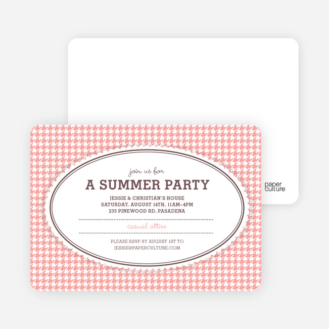 Houndstooth Party Invitations - Salmon