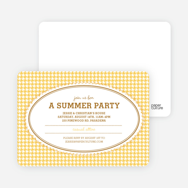 Houndstooth Party Invitations - Lemon Yellow
