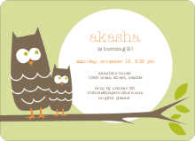Wise Owl Modern Birthday Invitation - Pale Green
