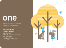 Forest Themed Modern Birthday Invitation - Taupe