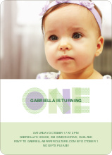 First Birthday Photo Invitations - Light Lime
