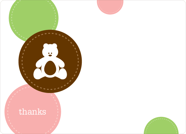 Thank You Card for Teddy the Bear Baby Shower Invitations - Cotton Candy