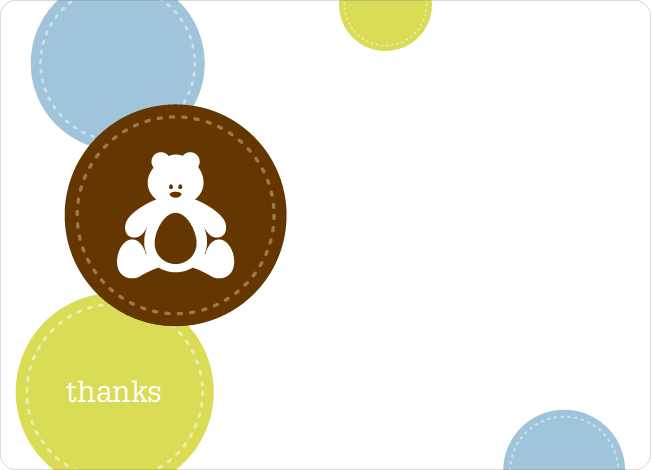 Thank You Card for Teddy the Bear Baby Shower Invitations - Neon Green