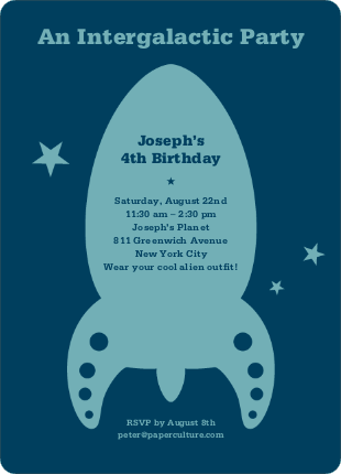 Intergalactic Modern Birthday Invitation - Sea Blue