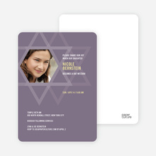 Intertwined Stars of David: Bar and Bat Mitzvah Invitations - Eggplant