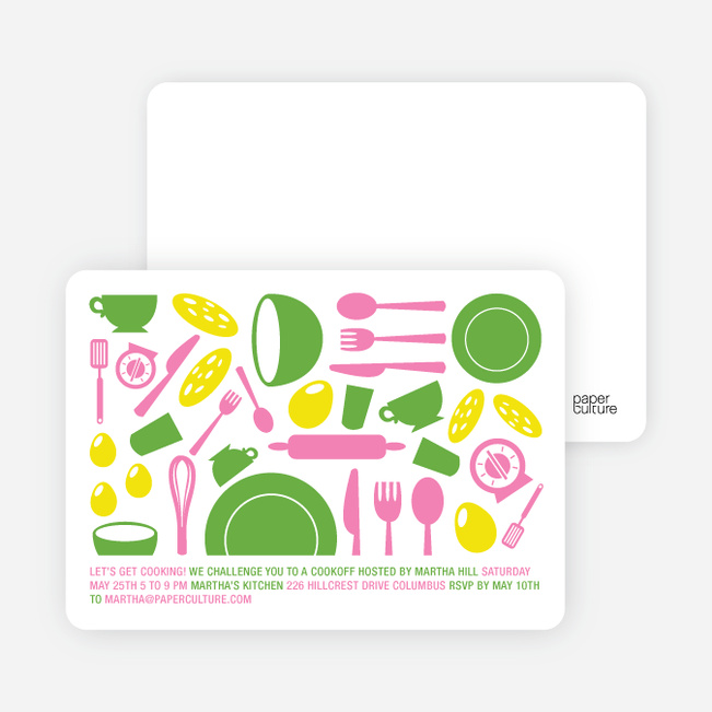 Iron Chef and Top Chef Party Invitations - Pesto Perfecto