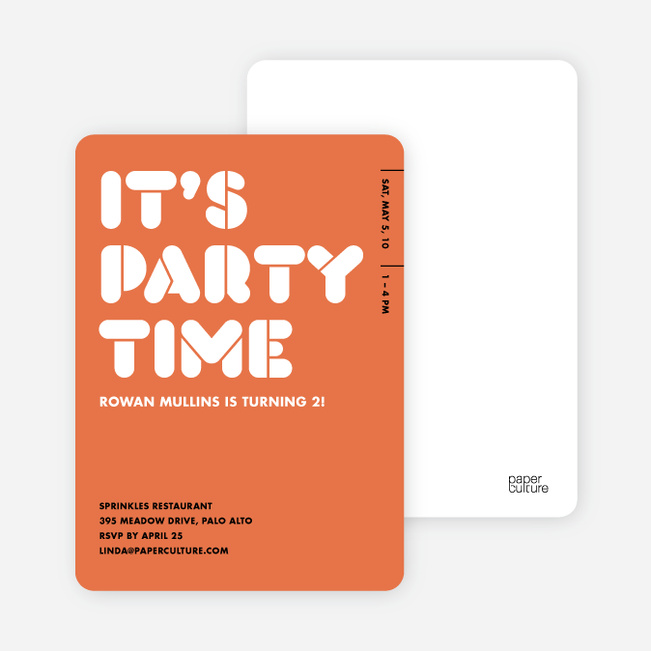 It's Party Time Invitation - Dull Red