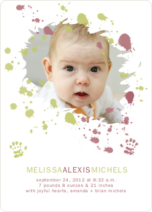 Jackson Pollock Redux Birth Announcements - Raspberry