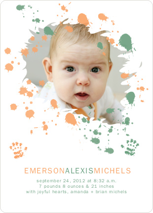 Jackson Pollock Redux Birth Announcements - Orange Surprise