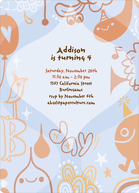Child's Imagination Birthday Party Invitation - Pale Blue